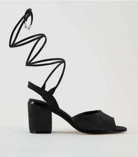 Teens Black Suedette Ankle Tie Heels | New Look