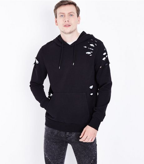 Black Ripped Pocket Front Hoodie | New Look