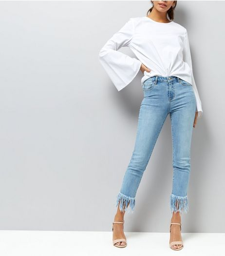 Pale Blue Fray Hem Skinny Jeans  | New Look