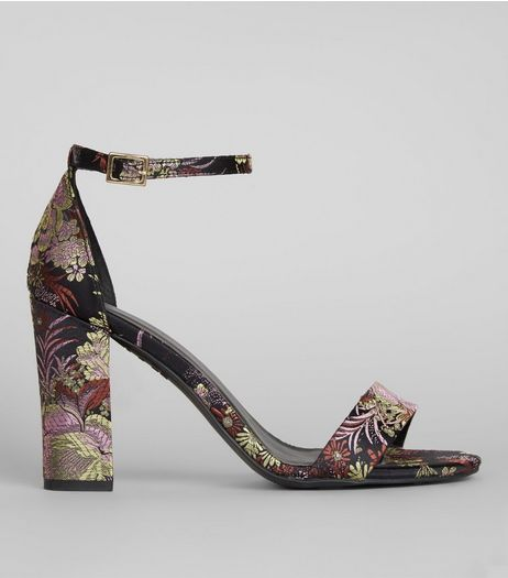 Black Floral Brocade Ankle Strap Heels | New Look