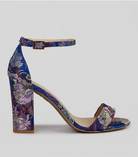 Blue Floral Brocade Heels | New Look