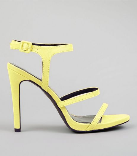 Neon Yellow Ankle Strap Heeled Sandals | New Look