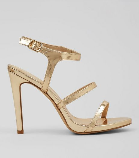 Gold Triple Strap Heeled Sandals | New Look