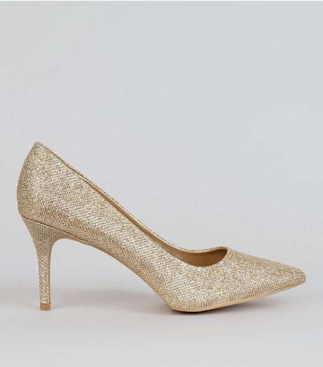 Gold Glitter Court Shoes | New Look