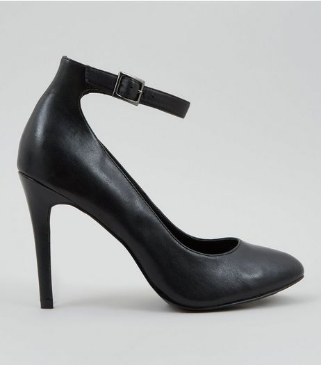 Black Leather Ankle Strap Court Shoes | New Look