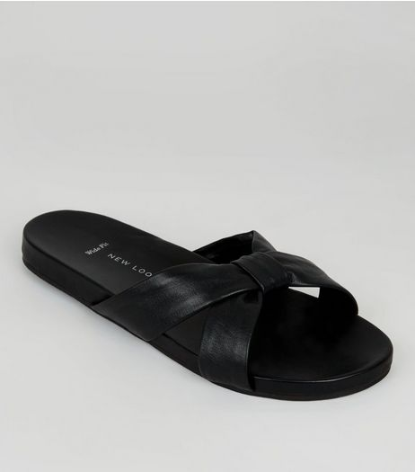 Wide Fit Black Leather Bow Strap Mules | New Look