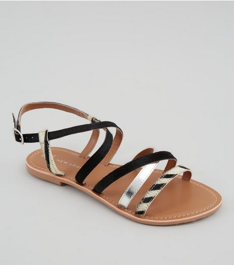 Wide Fit Black Animal Print Leather Strap Sandals | New Look