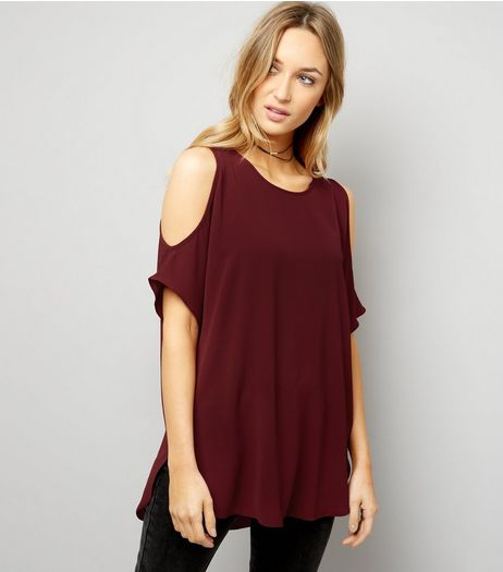 Burgundy Cold Shoulder Longline Top | New Look