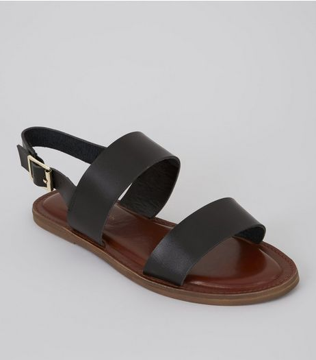 Wide Fit Black Double Strap Sandals | New Look