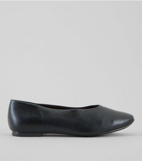 Wide Fit Black Square Toe Pumps | New Look