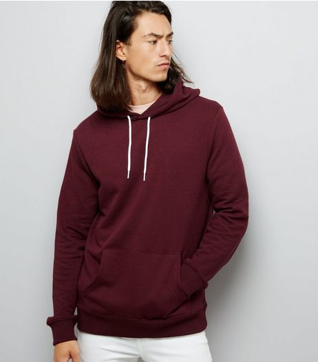 Burgundy Pocket Front Hoodie | New Look