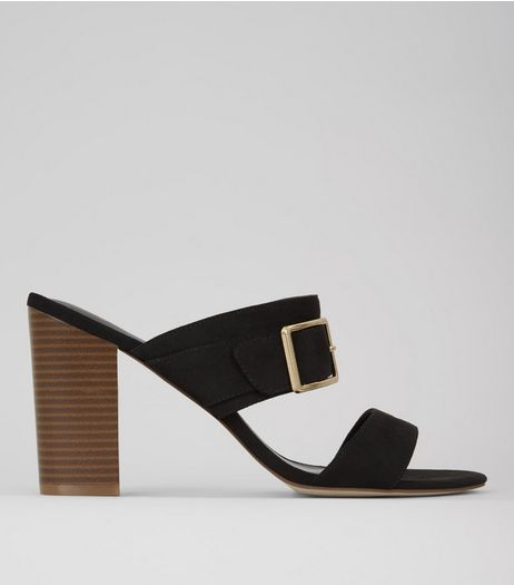 Wide Fit Black Buckle Trim Heeled Mules  | New Look