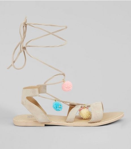 Teens Cream Suede Pom Pom Sandals | New Look