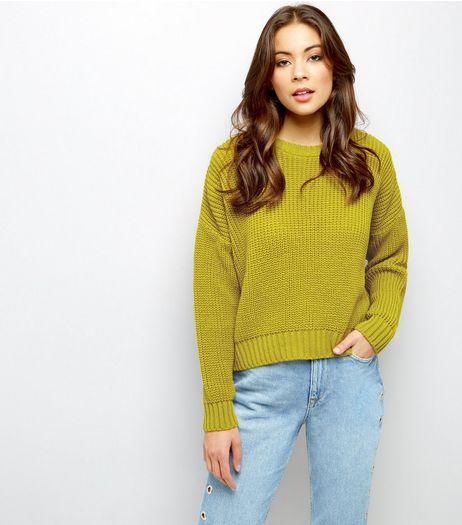 Light Green Ribbed Cropped Jumper  | New Look