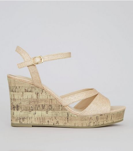 Wide Fit Gold Glitter Strappy Heeled Wedges | New Look