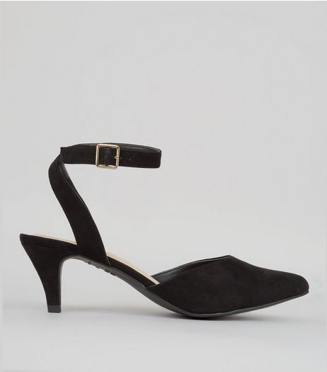 Wide Fit Black Comfort Suedette Kitten Heels | New Look