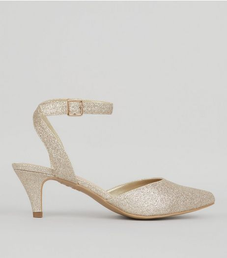Wide Fit Gold Comfort Glitter Kitten Heels | New Look