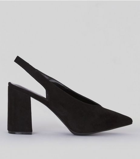 Wide Fit Black Suedette Pointed Sling Back Heels | New Look