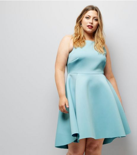 Curves Pale Blue Scuba Dip Hem Skater Dress | New Look