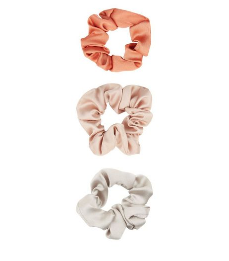 3 Pack Light Brown Sateen Crunchies  | New Look