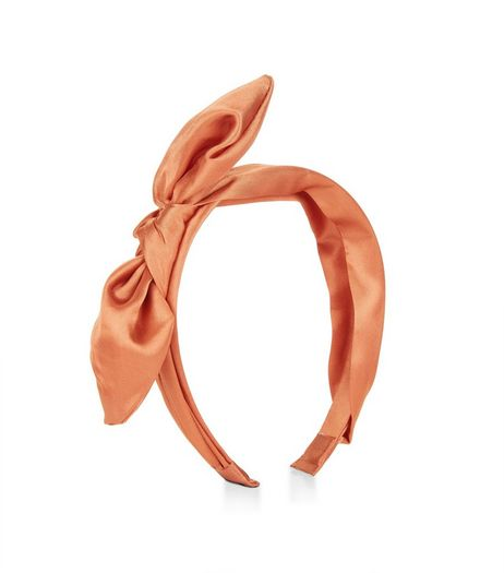 Orange Sateen Bow Alice Band | New Look