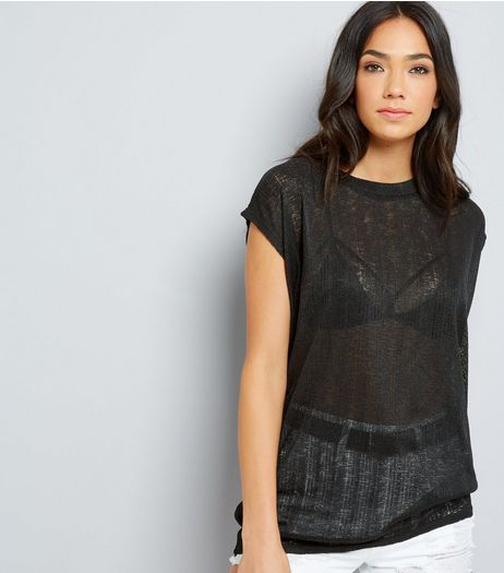 Black Textured Longline T-Shirt | New Look