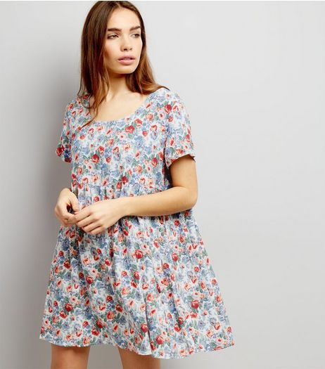 Motel White Floral Print Dress  | New Look