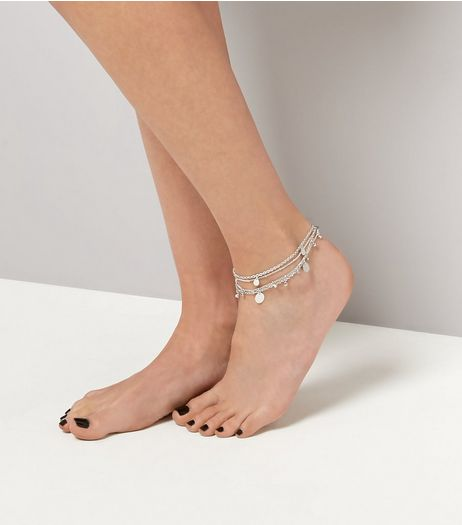 Gold Coin Trim Layered Anklet  | New Look