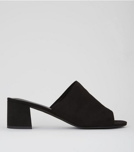 Wide Fit Black Suedette Block Heel Mules | New Look