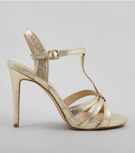 Wide Fit Gold Multi Strap T Bar Heeled Sandals | New Look