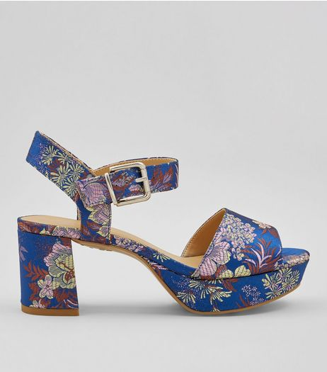 Teens Blue Floral Brocade Platform Heels | New Look