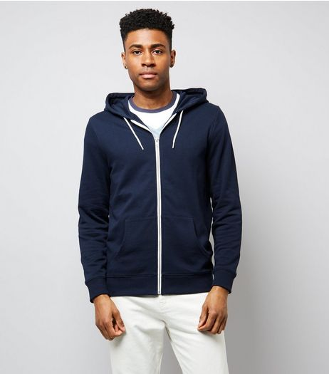 Navy Zip Front Hoodie | New Look