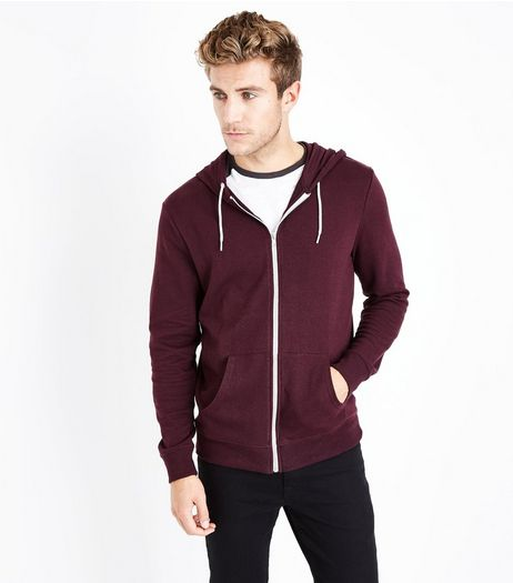 Burgundy Zip Front Hoody | New Look