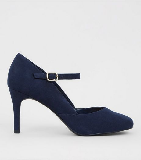 Blue Suedette Ankle Strap Court Shoes | New Look