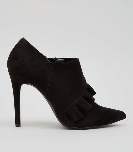 Black Suedette Frill Trim Shoe Boots | New Look