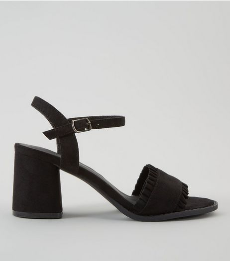 Teens Black Suedette Frill Trim Block Heels | New Look