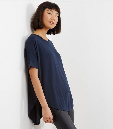 Apricot Navy Roll Sleeve Curve Hem Top  | New Look