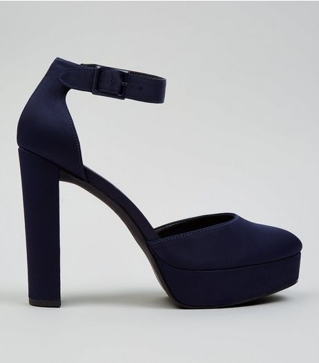 Navy Satin Platform Heels | New Look