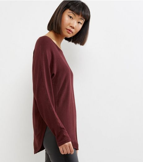 Apricot Burgundy Curve Hem Zip Back Jumper  | New Look