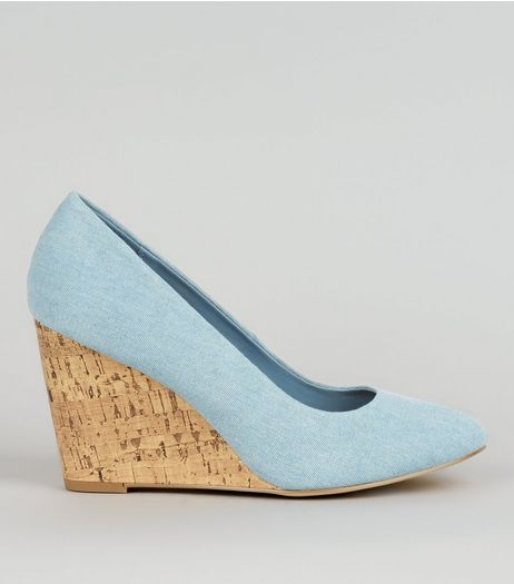 Pale Blue Suedette Wedges  | New Look