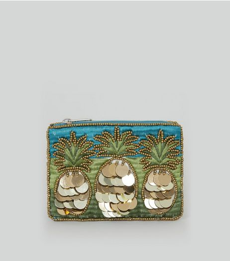 Blue Pineapple Embellished Zip Top Purse | New Look