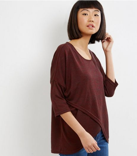 Apricot Burgundy Cross Front Jumper  | New Look