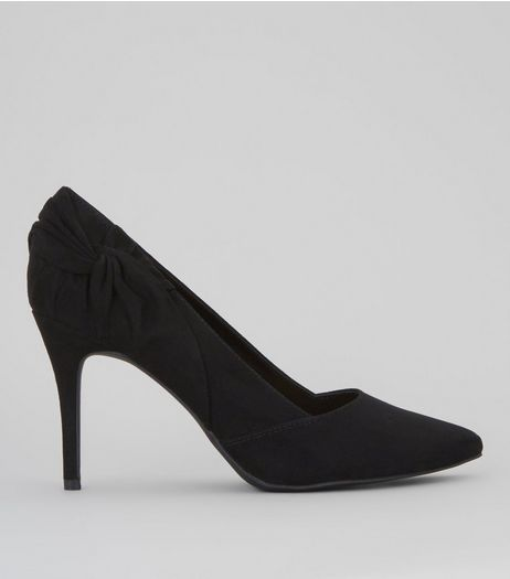 Black Suedette Twist Side Pointed Heels | New Look