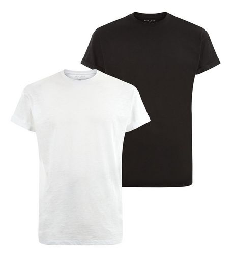 2 Pack Black and White Roll Sleeve T-Shirts | New Look