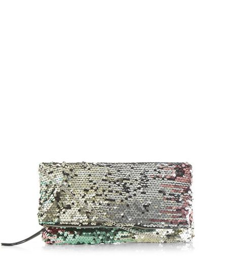 Green Sequin Foldover Clutch | New Look