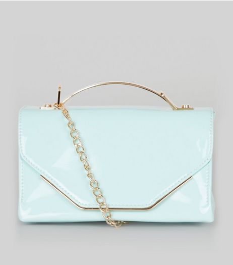 Mint Green Patent Metal Trim Cross Body Bag | New Look