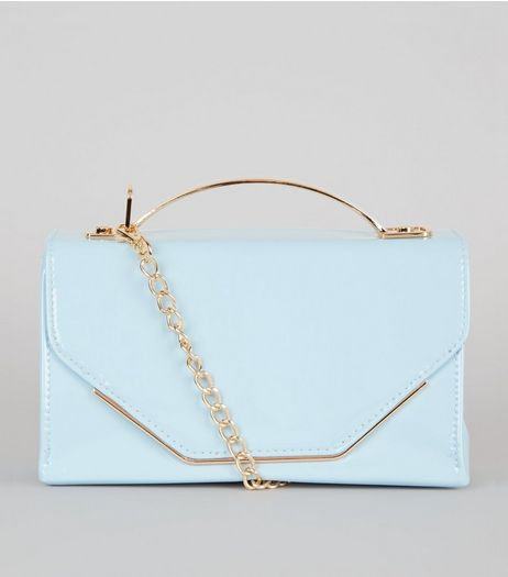 Pale Blue Patent Metal Trim Cross Body Bag | New Look