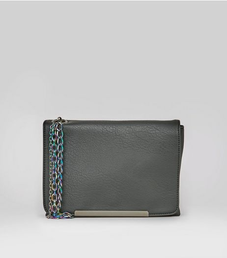 Black Multi Chain Clutch Bag  | New Look