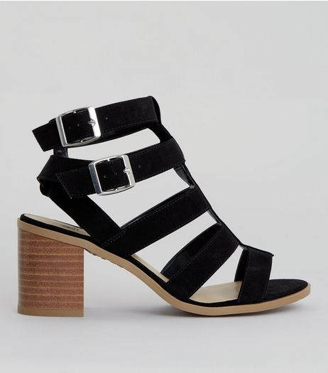 Teens Black Suedette Multi Strap Sandals | New Look