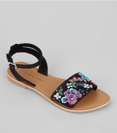 Teens Black Sequin Floral Embroidered Suedette Sandals | New Look